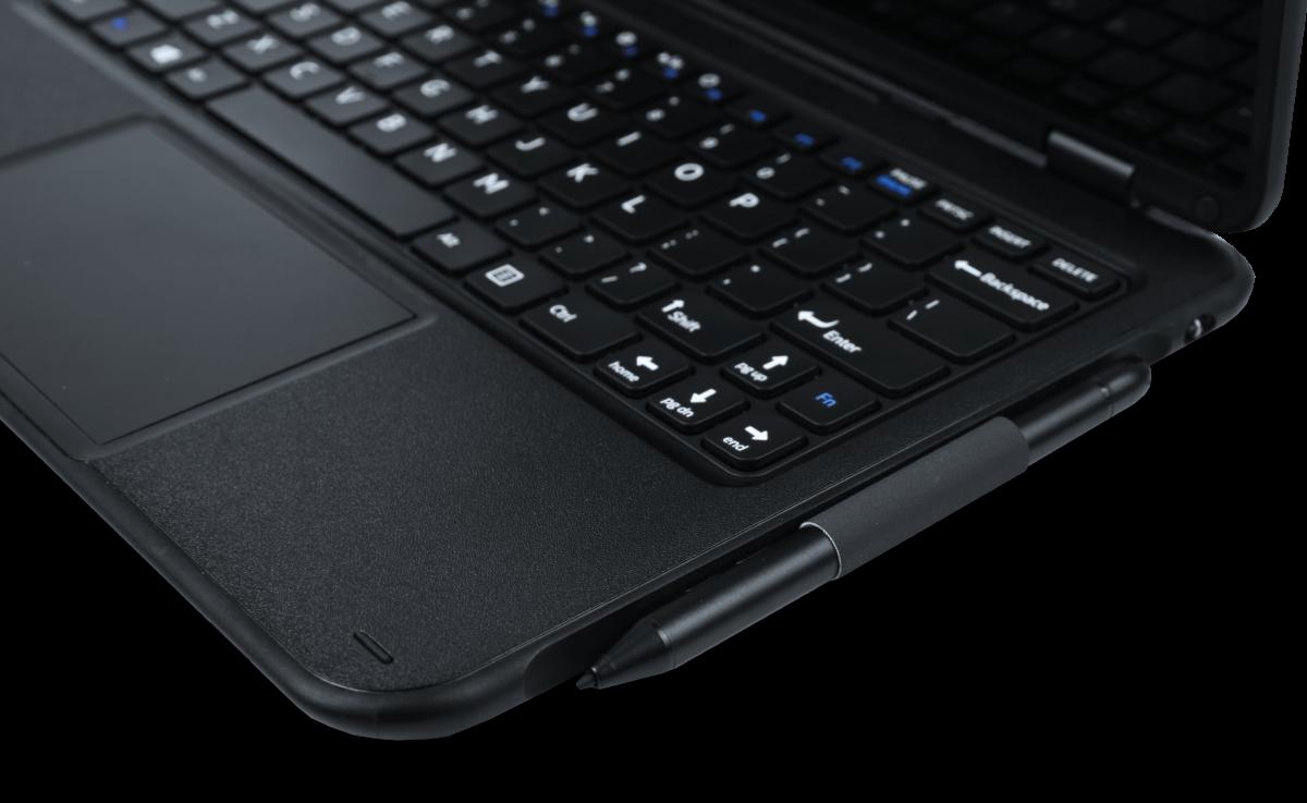 Pokini E11 Convertible rugged Notebook, aufgeklappt mit Stift | acturion.com